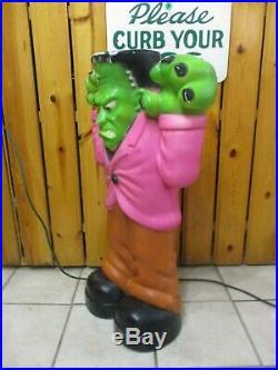 Vintage Frankenstein Monster Lighted Halloween Blow Mold Lawn Decor 36