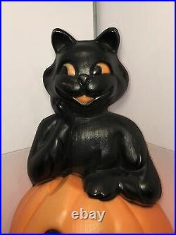 Vintage Halloween Blow Mold Black Cat in Pumpkin 1993 Carolina Enterprise Decor