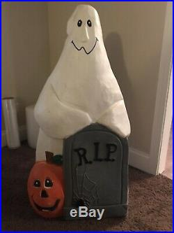 Vintage Halloween Blow Mold Ghost Tombstone Rip Pumpkin 36 Htf Free Shipping
