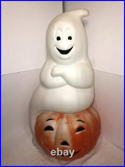 Vintage Halloween Blow Mold Large Ghost on Pumpkin Empire Lighted Yard Decor