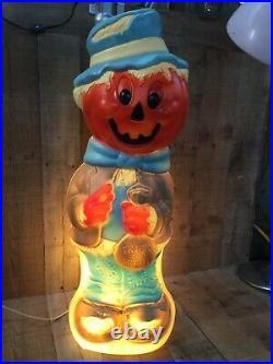 Vintage Halloween Empire Blow Mold 34 Pumpkin Head Scarecrow Working