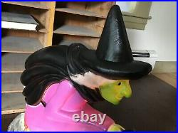 Vintage Halloween Plastic Blowmold Blow Mold Witch Union Featherstone WithLight