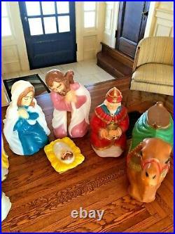 Vintage Large 7 Piece Nativity Scene Blow Mold Set By General Foam Mfg
