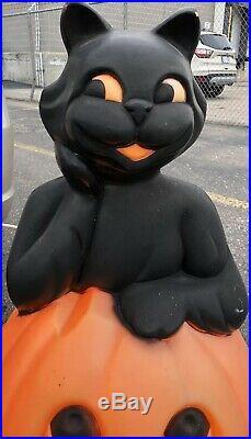 Vintage Pumpkin Black Cat Blow Mold Lighted Yard Ornament Halloween 34