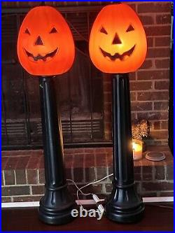 Vintage TPI 1991 Halloween Jack-O-Lantern Pumpkin Black Post Blow Mold 44 PAIR