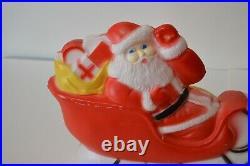 Vintage Union Products Inc Santa Sled Sleigh Blow Mold Christmas Lighted Decor