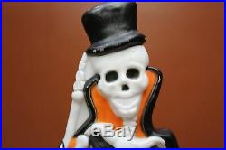 Vintage Union Products Lighted Blow Mold 37 Skeleton Top Hat and Tombstone 1997