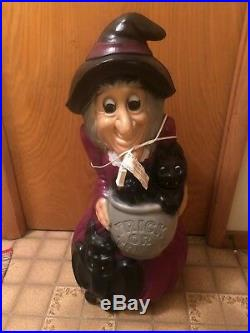 Vintage Witch 34 Inches Blow Mold Holiday Halloween Yard Decor