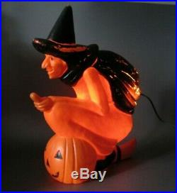 Vintage Witch on Broom Lighted Blow Mold 20 Halloween Don Featherstone 1992
