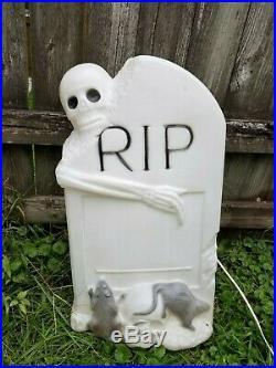 Vintage Zombie Skeleton Tombstone RIP Trick or Treat Rat Bat Halloween Blow Mold
