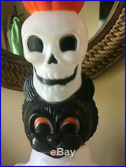 Vtg Empire Lighted Halloween Totem Pumpkin Skull Ghost Cat Lighted Blow Mold 32